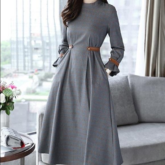 2973f7058c Sucrefas Gray Stripe A-Line Dress XXL